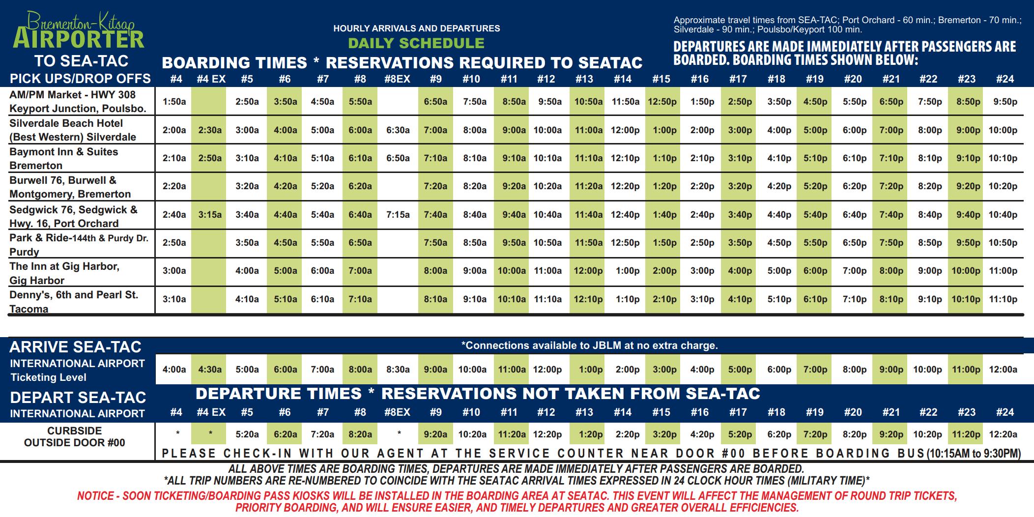 Schedule – Bremerton Kitsap Airporter